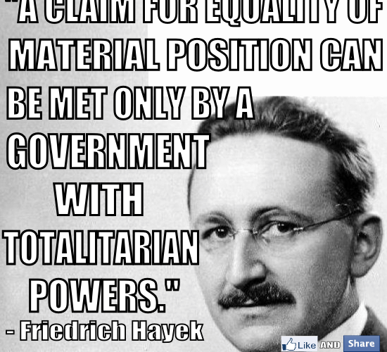 F.A. Hayek Equality Government Totalitarian Power