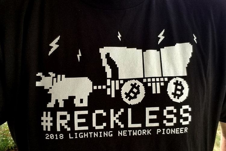 Bitcoin #RECKLESS Lightning Network Pioneer T-Shirt